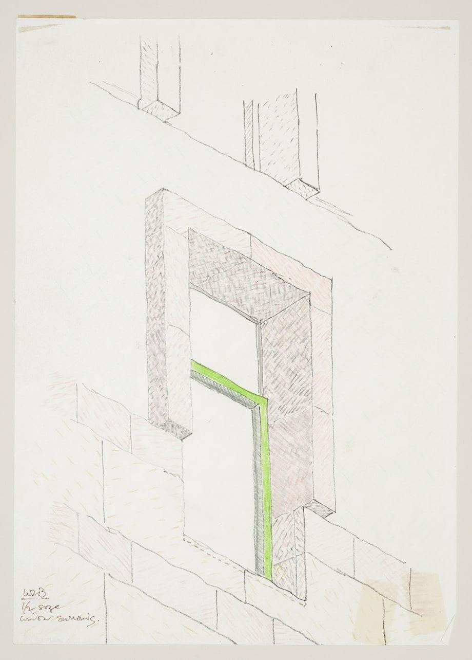 ジェームズ・スターリング/マイケル・ウィルフォード《ベルリン科学センター》 (ドイツ、ベルリン)窓詳細図、1979-1987 年、カナダ建築センター蔵 James Stirling/Michael Wilford fonds, Canadian Centre for Architecture