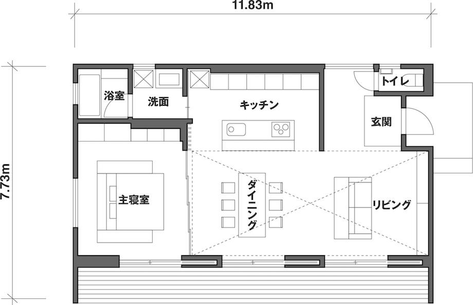 MUJI HOUSE「陽の家」1/1展示 平面図